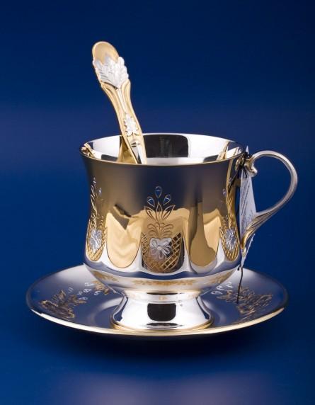 Серебряный набор чашка с блюдцем  №7