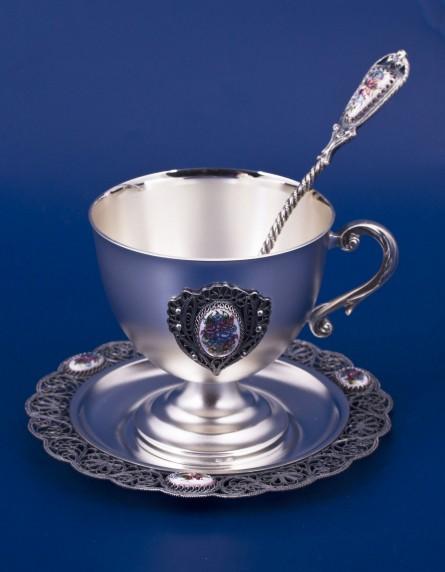 Серебряный чайный набор «Букет»