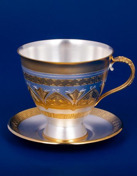 Серебряная чашка с блюдцем №2