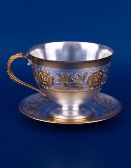 Серебряная чашка с блюдцем №3