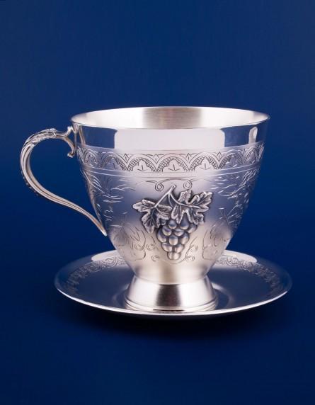 Серебряная чашка с блюдцем №22