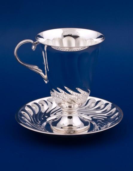 Серебряная чашка с блюдцем №19