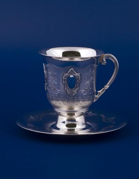 Серебряная чашка с блюдцем №12