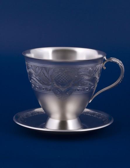 Серебряная чашка с блюдцем №20